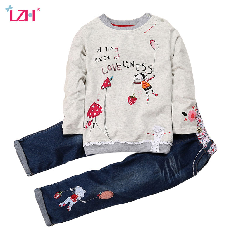 LZH Children Girls Clothing Sets 2018 Spring Autumn Toddler Girls Clothes T-shirt+Pants 2pcs Outfit Kids Clothes Girl Sport Suit teenage girls clothing sets for teens girl children summer half sleeves t shirts skirt pants 11 12 13 14 kids clothes 2pcs sets