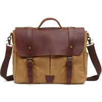 SOAEON Crazy Horse Leather Canvas Bag Briefcase Hand held Waterproof Oil Wax Man Retro Shoulder Sloping Handbag
