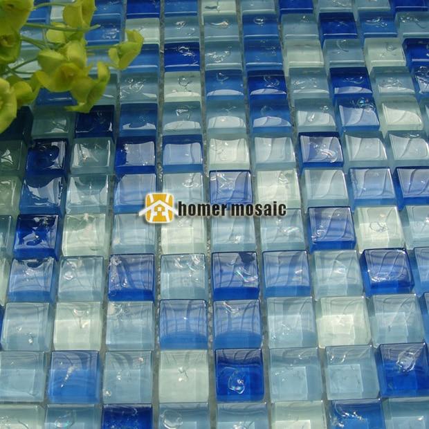 Tessere di mosaico di vetro blu azzurro ehgm1030 per for Piastrelle per interno piscina