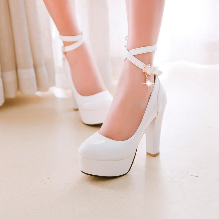 ФОТО 2016 Fashion ultra high heels platform japanned leather women shoes thick heel plus size 42 43 belt single work  wedding shoes