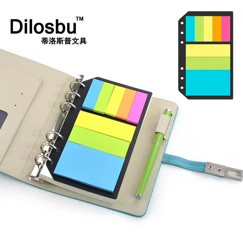 Dilosbu 6 hole loose leaf memo pads post it notebook content record binder Fluorescent paper index paste Color paper