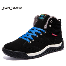 JUNJARM New Men Boots Winter With Fur Warm Snow Work Shoes Footwear Fashion Rubber Ankle 39-46