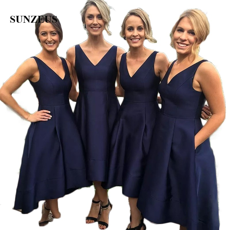 Tank V Neck High Low   Bridesmaid     Dresses   Navy Blue Satin A-Line Wedding Party   Dresses   with Pockets robe demoiselle d'honneur