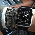 Men Bracelets,Famous Brand Bracelets,8mm Pave Setting Black CZ Beads & Rose Gold 6mm Round Beads Braiding Bracelet