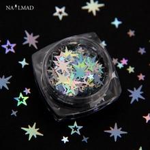 1 caixa holográfica estrela octogonal glitter mistura oco estrela prego lantejoulas cruz estrela brilhos arte do prego decorações