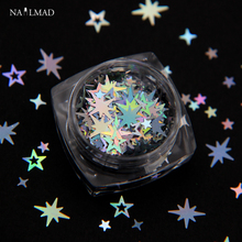 1box Holographic Octagonal Star Glitter Mixes Hollow Nail Sequins Cross Glitters Art Decorations