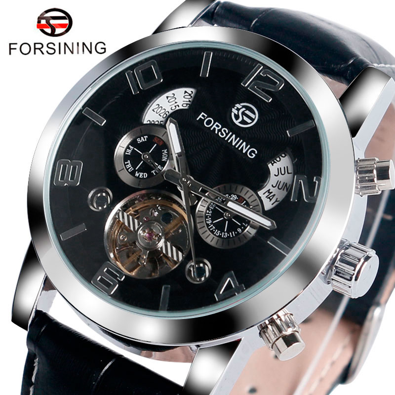 FORSINING Self-winding Mechanical Watch Men Luxury Fashion Brand Dress Date Day Watches Gift Black Genuine Leather Band Clock luxury men brand crystals dress watches self winding mechanical 316l band calendar wristwatch saphir relojes analog 3atm nw4239