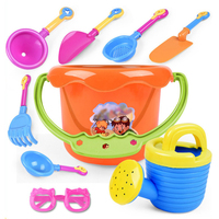 9 Pieces Beach Sand Toys Beach Bucket Set With Mesh Bag For Kids With Eyewear Glasses