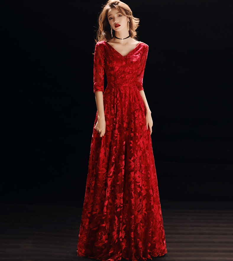 Vintage Burgundy/Red V-neck Long Lace Mother Of The Bride Dresses for Wedding 2019 Evening Prom Party Gowns robe de soriee
