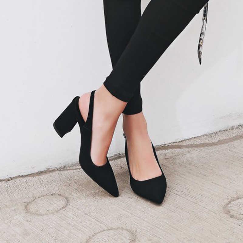 Meotina 여성 신발 키즈 스웨이드 하이힐 지적 발가락 슬링 백 두꺼운 하이힐 펌프 가을 레이디 파티 힐 그린 베이지 34-42
