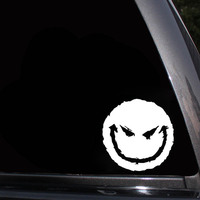 black silver 12.9*13CM Car Accessories Evil Smiley Happy Face Vinyl Car Decal Auto Truck Window Decor Auto Sticker Black/Silver (4)