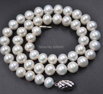 Natural color 9mm near round freshwater rare pearl necklace free shipping