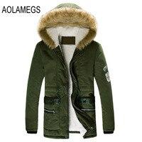 Winter Jackets Mens Thicken Warm Fur Collar Outwear Coats Winter Hooded Parka Coats Outdoors Fashion Slim