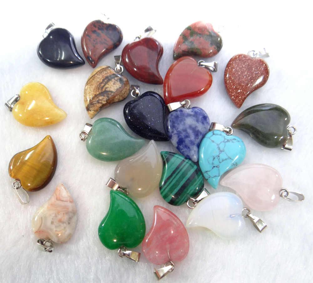 Toptan 12 adet doğal taş opal akik kuvars kristal kaplan gözü charms kalp kolye boncuk diy takı yapımı için kolye