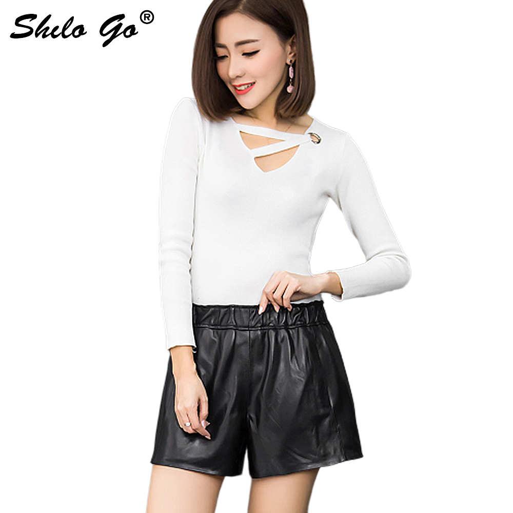 Leather Shorts Womens Spring Fashion Sheepskin Genuine Leather Shorts Stretch High Waist Concise Loose A Line Shorts