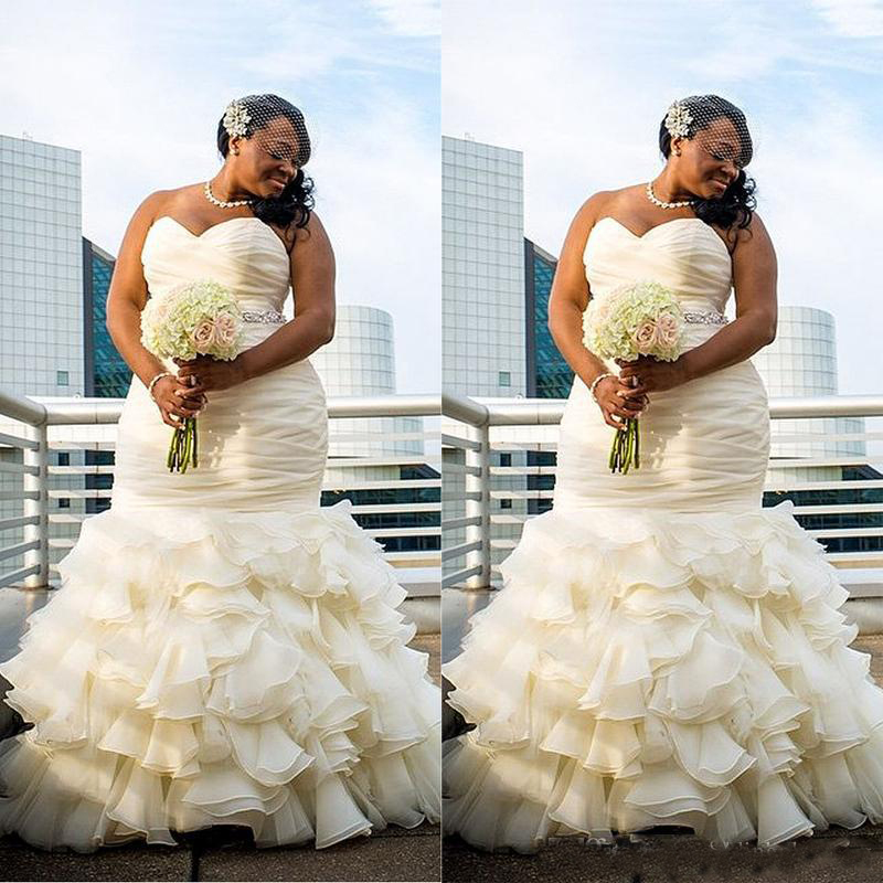 African Plus Size Wedding Dresses Mermaid 2020 Vestido De Noiva Sweetheart Ruffle Organza Bridal Gowns For Black Girls Women