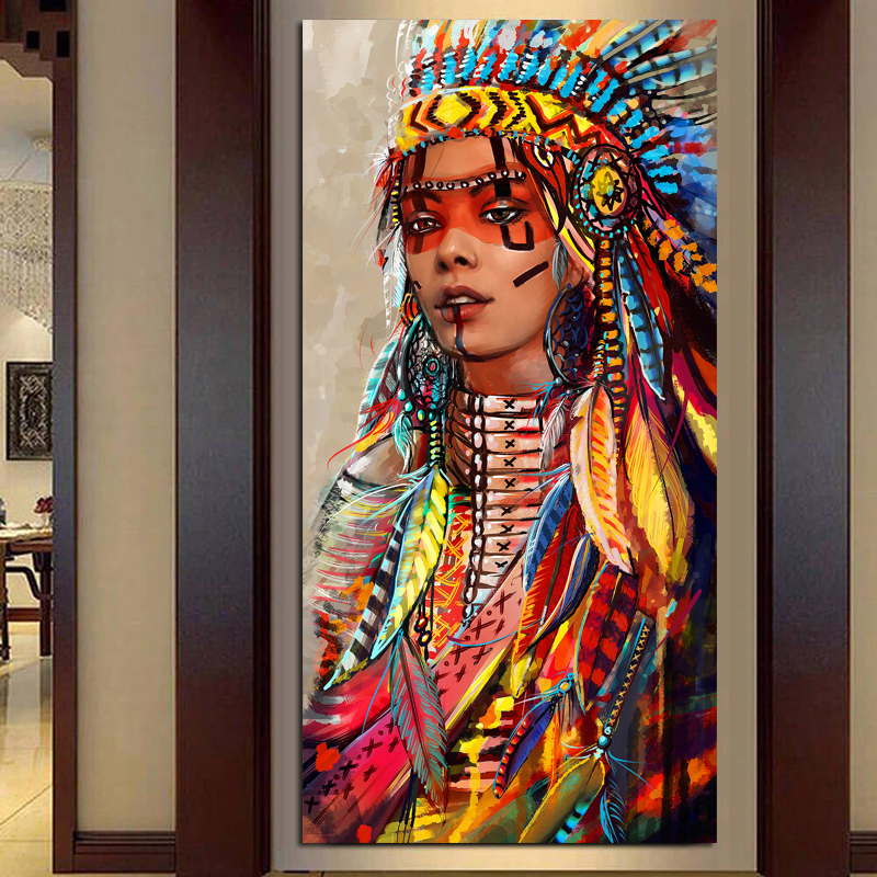 Wall Art Native American Indian Girl Feather Woman Portrait Canvas Painting for Living Room Home Decor Drop shipping Unframed
