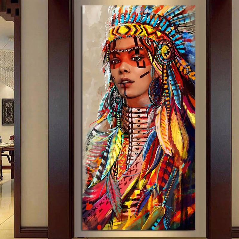 Wand Kunst Native American Indian Mädchen Feder Frau Porträt Leinwand Malerei für Wohnzimmer Home Decor Drop Shipping Unframed