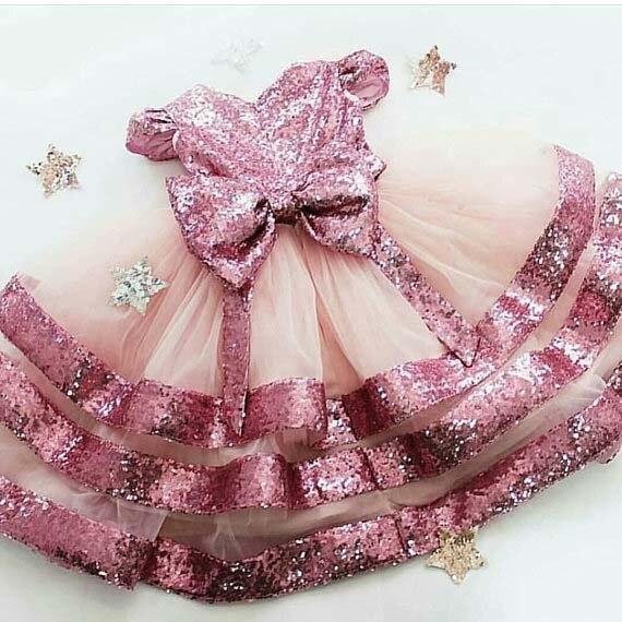 Sparkly Bling Pailletten Blush Roze Tulle Bloem Meisje Jurken Tiered Uitvoeren Jurk Voor Pageant Baby Peuter Verjaardagsfeestje Jurk