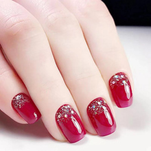 24pcs/set Red Color Short Size Fake Nails Women Fashion Glit
