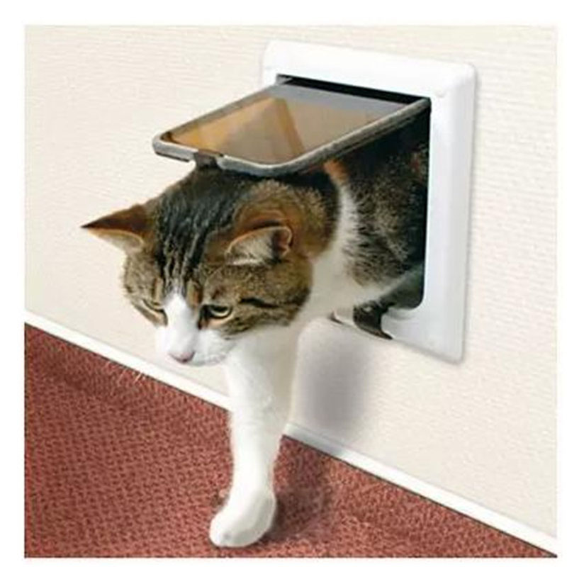 Hot Sale Pet Cat Small Dog Flap Glass Door Pets Kitten White Frame 4 Way Locking Lockable Magnetic hite Brown 2 Colors