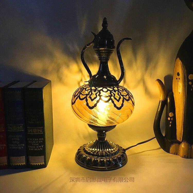 New Mittelmeer Stil Art Deco Türkischen Kaffee Tisch Lampe Schreibtisch Lampe Glas Romantische Licht Buch Lampe Gut FüR Antipyretika Und Hals-Schnuller Licht & Beleuchtung