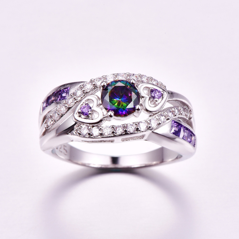 lingmei Dropshipping Fashion Women Wedding Jewelry Oval Heart Design Multicolor & Purple White CZ Silver 925 Ring Size 6 7 8 9 3