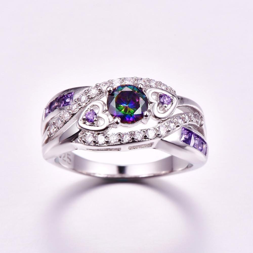 lingmei Dropshipping Fashion Women Wedding Jewelry Oval Heart Design Multi & Purple White CZ Silver Color Ring Size 6 7 8 9 4