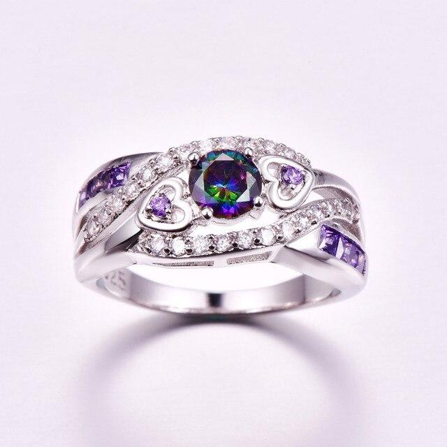 lingmei New Arrival Oval Heart Cut Design Multicolor & Purple White CZ Silver  Ring Size 6 7 8 9 Fashion Women Jewelry Gift