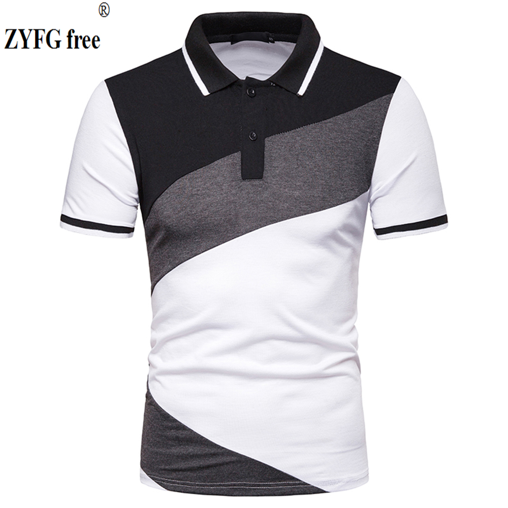 2019 men's short-sleeved   polo   blouse turn-down collar cotton polyester blended stitching   POLO   shirt casual tops   POLO   shirt