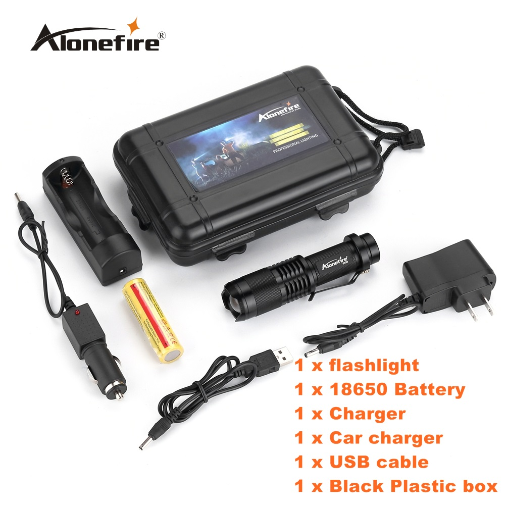 Alonefire SK98 Mini Zoom 2000 Lumens bright CREE L2 led Zoomable LED Flashlight Torch light with 18650 Battery and charger cree xml l2 6000 lumens 5 mode led flashlight zoomable focus torch zoom bicycle light 18650 battery charger clip box c09