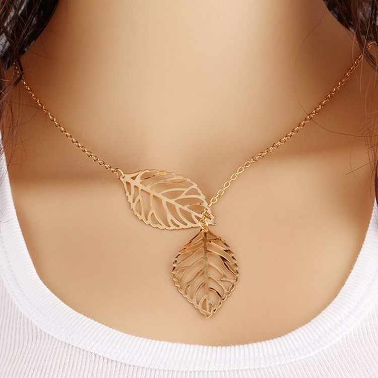 New fashion jewelry simple personality wild temperament 2 leaf necklace female jewelry necklace wholesale Necklace Earrings Set