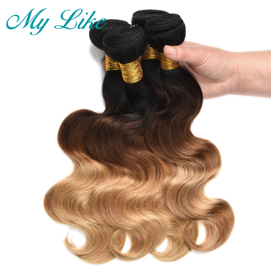 My Like Pre-colored Ombre Brazilian Hair Weave Bundles 1b/4/27 3 Tone Non-remy Ombre Body Wave Human Hair Extensions 4 Bundles