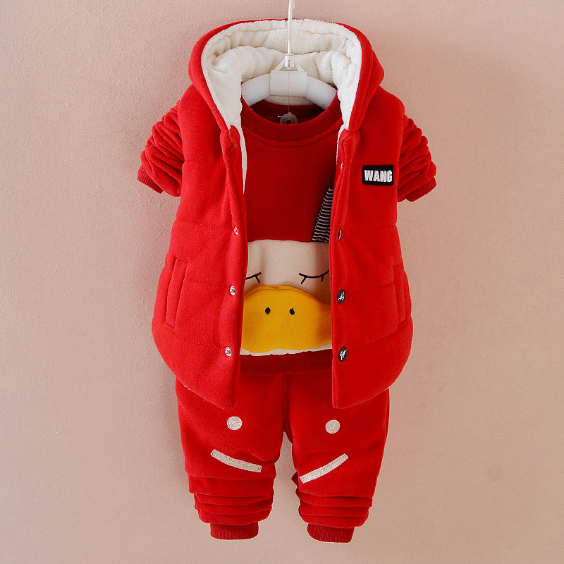 2018 Winter Velvet Toddler Boy Girl Clothing Sets 3pcs Hooded Vest+Tshirt+Pant Kids Clothes Sets Toddler Winter Clothes