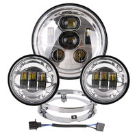 7 LED Projection Head Light Lamp For Harley Touring 1200 Electra Street Glide Stickers Softail Road King