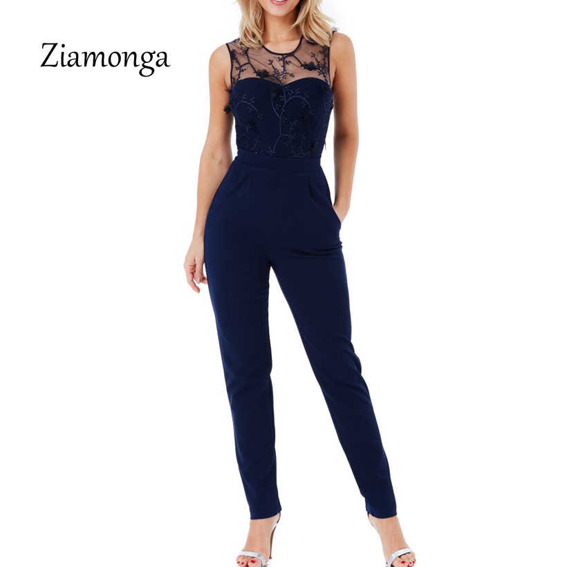 Ziamonga Sexy Officewear Bodycon Long Pants Jumpsuit Women Spring Casual Ladies One Piece Outfits Rompers Elegant Long Jumpsuit