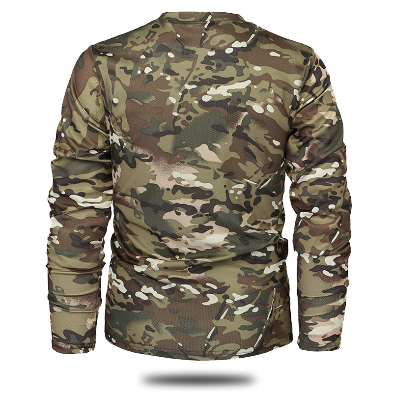 Mege Brand Clothing New Autumn Spring Men Long Sleeve Tactical Camouflage T-shirt camisa masculina Quick Dry Military Army shirt 4