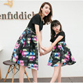 2016 hot sell family matching clothing black Floral dress summer clothes for mother daughter couple looking casual cotton dress