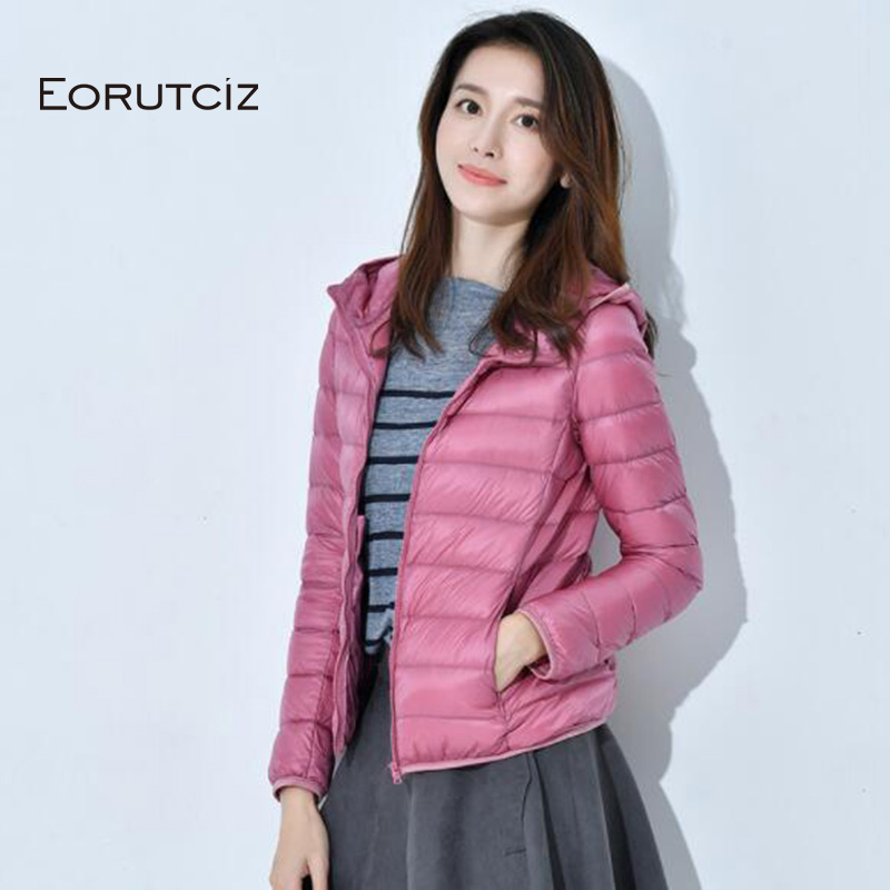 EORUTCI Spring Plus Size 4XL   Down     Coat   Women Short Ultra Light Hoodie Duck   Down   Jacket Slim Vintage Black Autumn   Coat   LM350