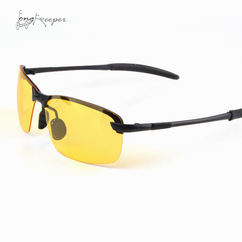 LongKeeper Mens Night Vision Glasses Polarized Sports Eyewares Night Cycling Glasses Bike Bicycle Riding Yellow Lens Goggles
