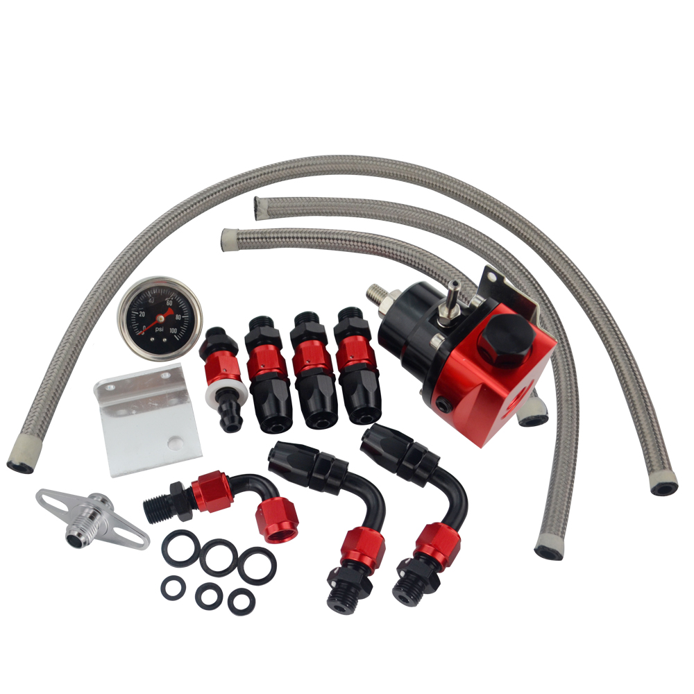 Image 5 - VR   Black&Red Universal fpr AN6 Fitting EFI fuel pressure regulator For 7MGTE MKIII with hose line.Fittings.Gauge VR7842BKRD-in Oil Pressure Regulator from Automobiles & Motorcycles