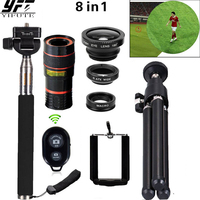 8in1 12X Zoom Camera Telephoto Lens Phone Telescope 3in1 Clip On Lens Kit Bluetooth Wide Angle