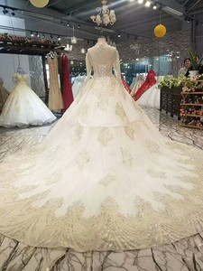 Image 3 - LS17233 royal golden lace wedding gown with crystal necklace o neck long sleeve robe ceremonie femme mariage