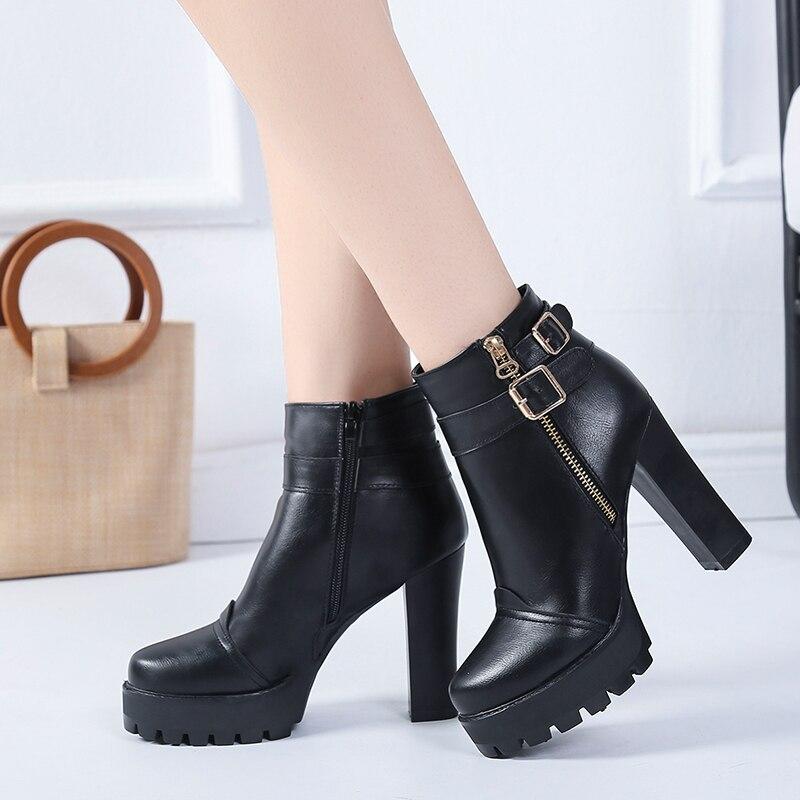 6383e1def3f7b Moda extrema tacones Botas para las mujeres invierno zapatos Mujer patente plataforma  Botas negro Botas Mujer 35 40 11 cm en Botines de Zapatos en ...