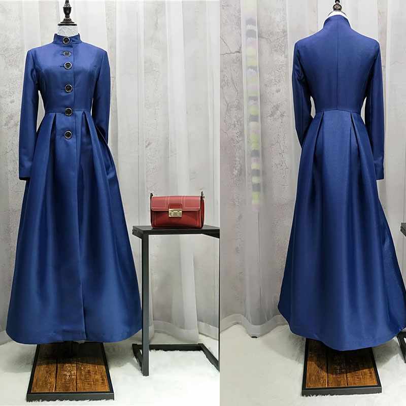 Free Shipping Fashion Long Maxi Mandarin Collar   Trench   Dress For Women Vintage Outerwear Long Sleeve Plus Size Coat S-XL Blue