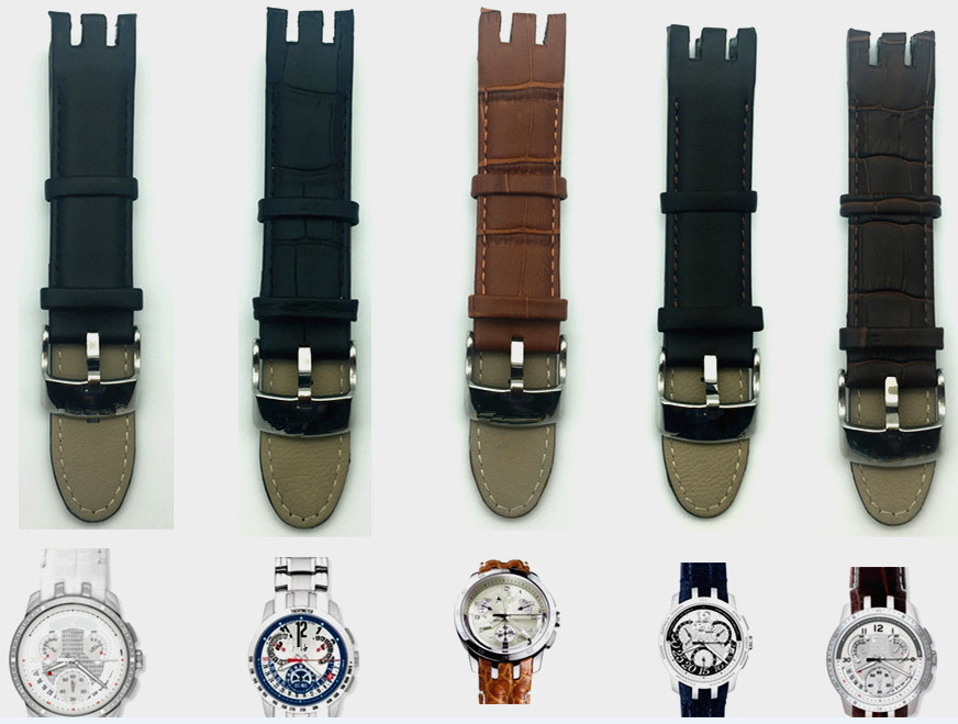Bracelet de montre en cuir véritable, motif bambou, fermoir à broche, pour Swatch YRS403 401 402G 412 413 418mm