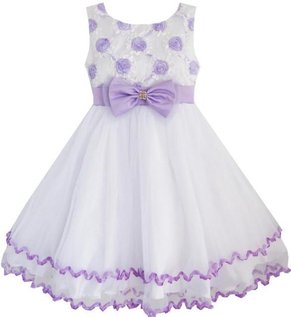 Sunny Fashion Vestido Menina Púrpura Flor Branco Tule Plissadas Casamento Festa