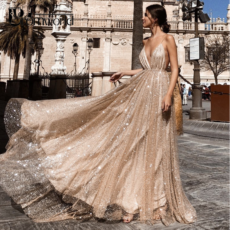 Sexy Gold Prom Dresses 2019 A-Line Sequin Party Maxys Long Prom Gown V-neck Backless Evening Dresses Vestido De Fiesta
