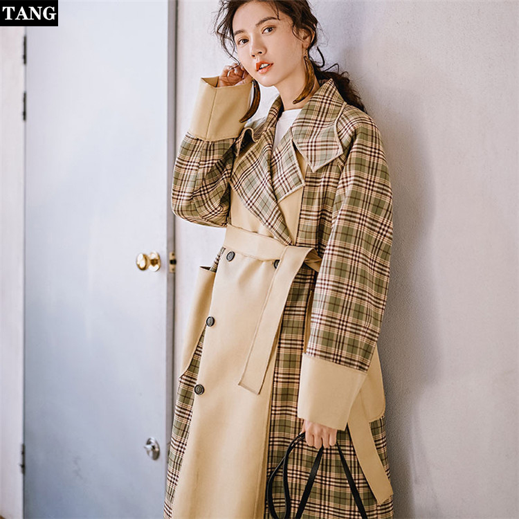 Tang Retro elegant plaid stitching windbreaker spring new original Female   Trench   Coat Long Sleeves Vintage Casual thin Outwear
