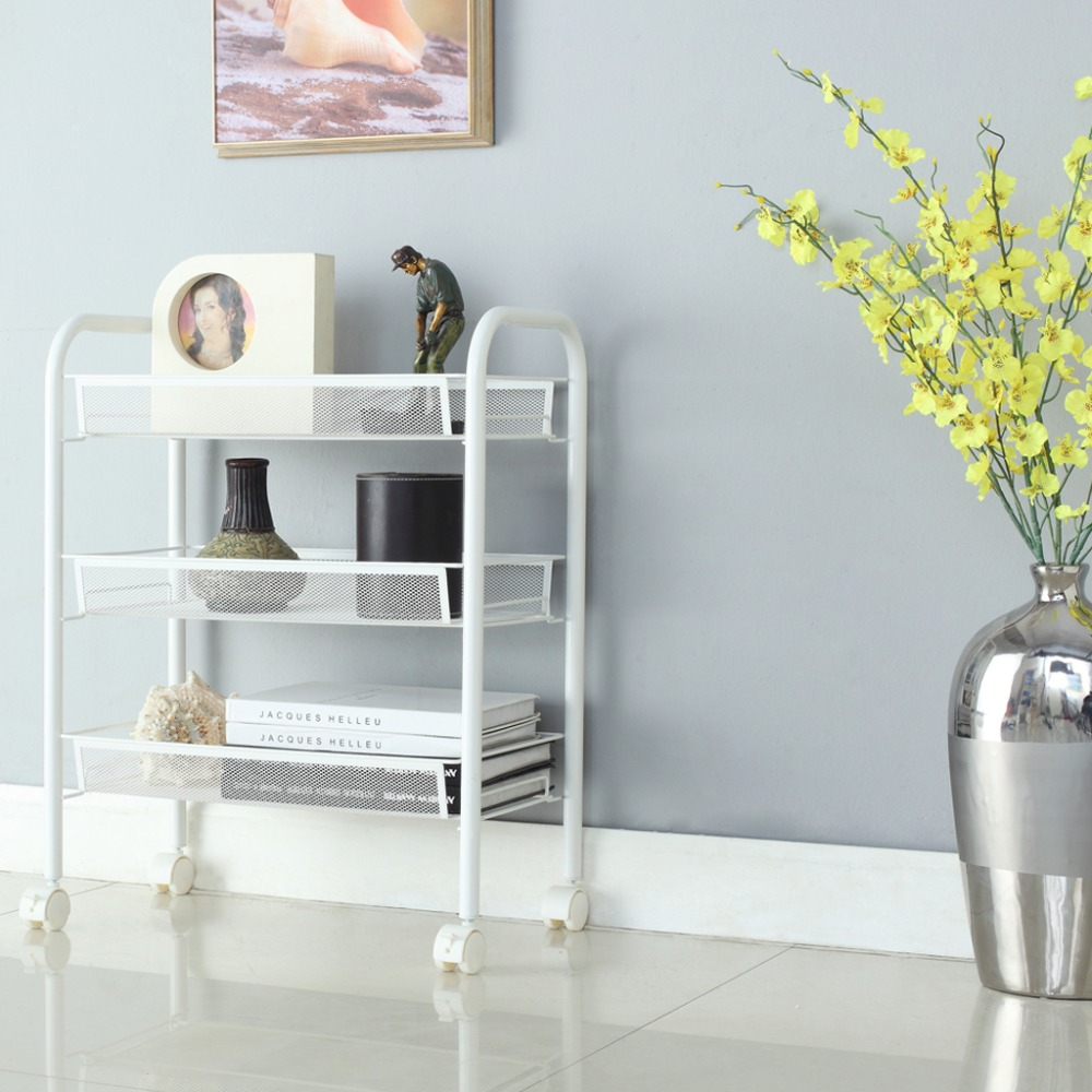 2016 New Langria 3 Tier Metal Mesh Rolling Cart Bathroom Shelves for ...